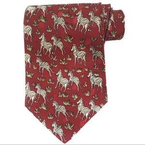 Dino Romano handmade zebra red novelty tie